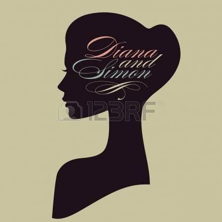 silhouette woman: Красивая женщина силуэт лица в профиль Свадебный дизайн вектор