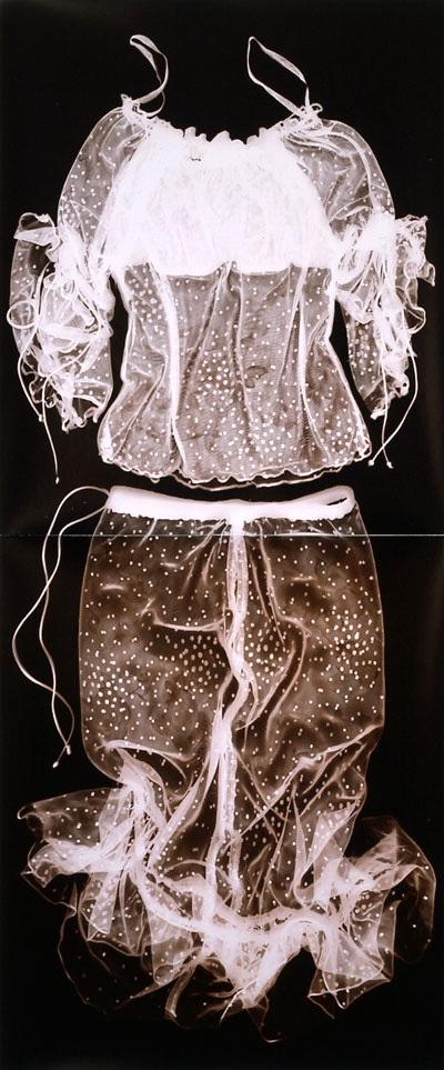 Anita Douthat, Alexandria, KY Transparent Uniforms X Photogram on gold-toned printing-out paper, 20 x 48 inches