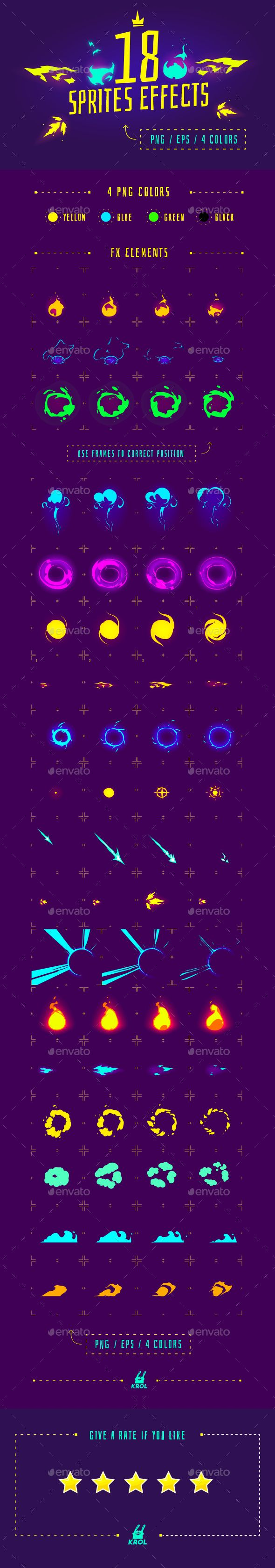 18 Sprite Effects — Vector EPS #fx #explosion • Available here → https://graphicriver.net/item/18-sprite-effects/17434850?ref=pxcr