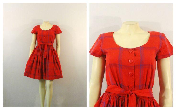 Vintage dress shirtwaist dress 80s does 50s style liz claiborne plaid