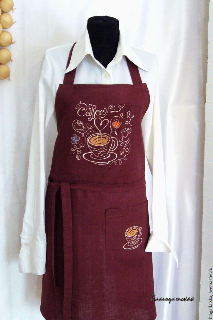 Купить Передник Я люблю кофе - коричневый, передник, передник для кухни, фартук…