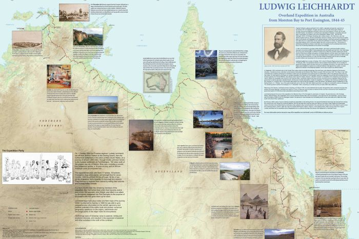 ANU's new hard copy map of Ludwig Leichhardt's expedition in 1844.