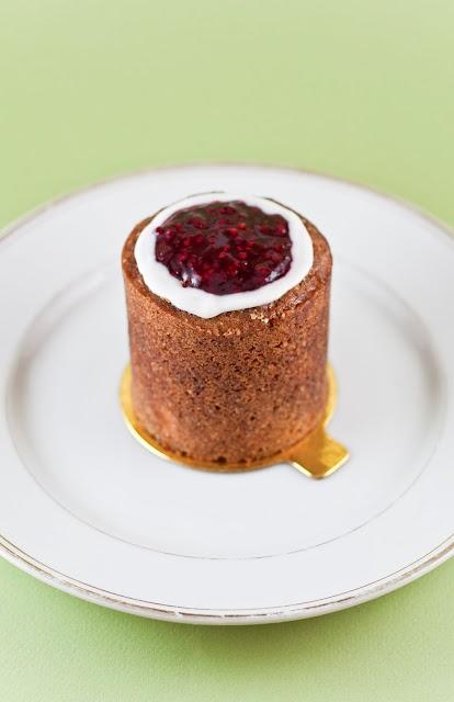 Runeberg cake (it's Finnish).  Orange, ginger, almond, cardamon.. the list goes on.