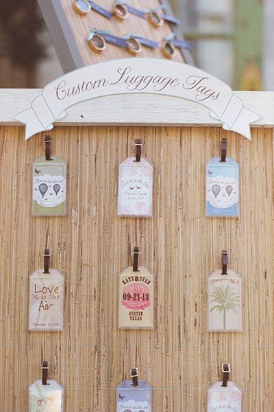 Instead of giving out the same exact favor to all of your guests, mix it up with different designs, like these fun luggage tags!
