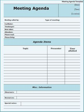 meeting agendas templates | Meeting Agenda Template Download Page | Word Templates