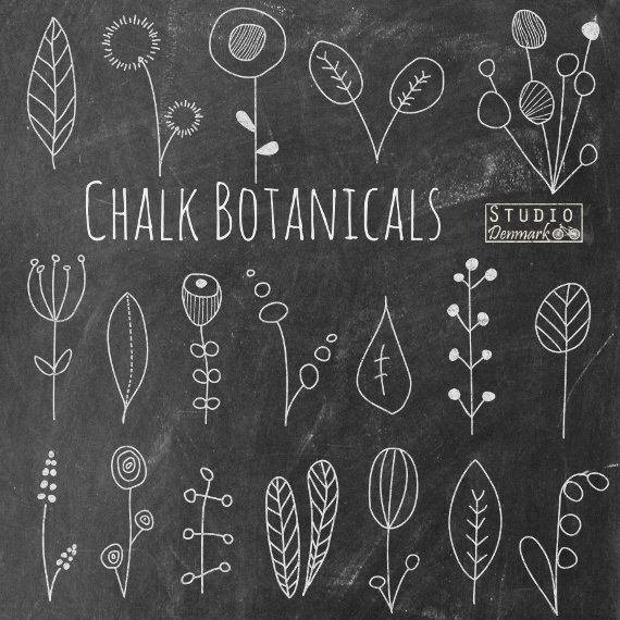 """Chalkboard Flower Doodles Clipart - """"Chalk Botanicals"""" Hand Drawn Floral Chalk Flowers and Leaves  - Commercial Use Instant Download by StudioDenmark on Etsy https://www.etsy.com/listing/203882983/chalkboard-flower-doodles-clipart-chalk"""
