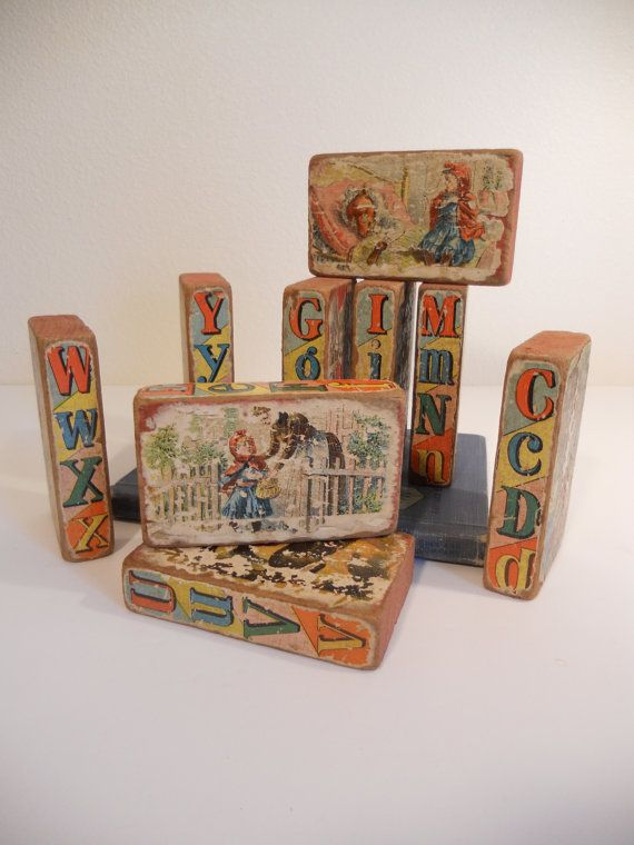 Vintage Antique Alphabet Toy Blocks - Wood and Paper on Etsy, $38.00