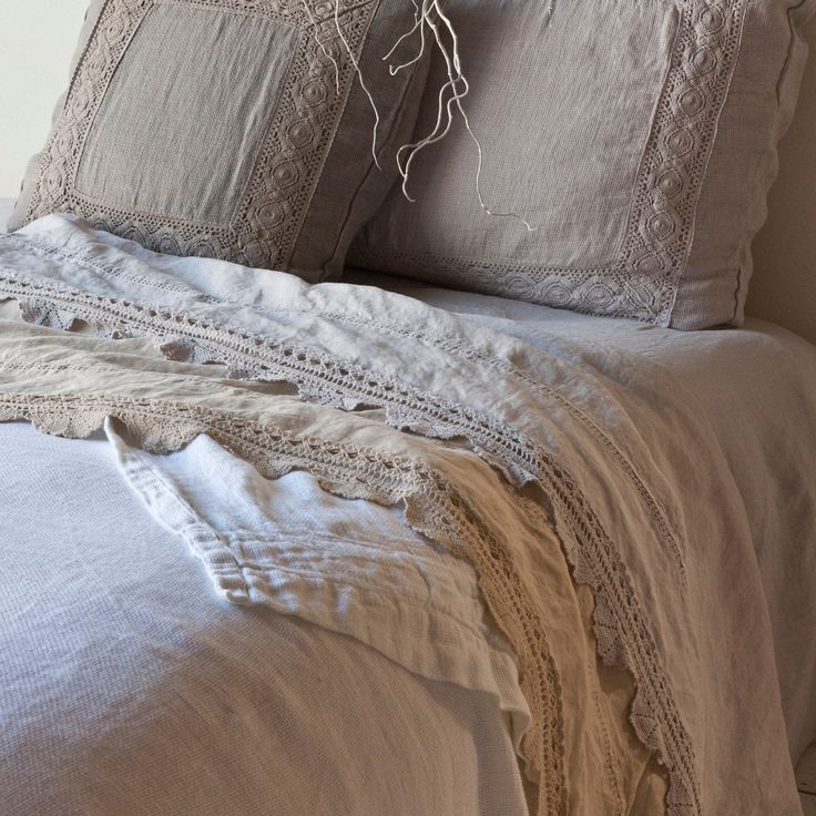 bella notte flat sheet linen with crochet lace trim