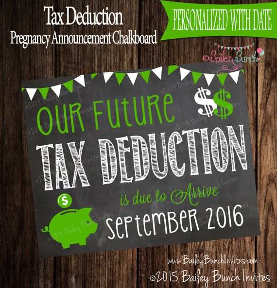 Tax Deduction Pregnancy Announcement by BaileyBunchInvites on Etsy