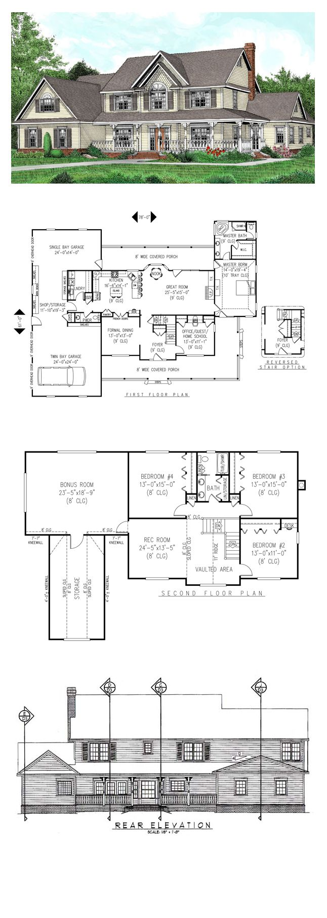 Farmhouse Style COOL House Plan ID: chp-27860 | Total Living Area: 3005 sq. ft., 5 bedrooms & 2.5 bathrooms. #houseplan #farmhouseplan