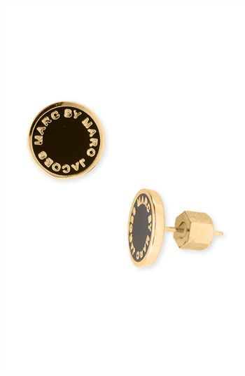 MARC BY MARC JACOBS Enamel Logo Disc Earrings available at #Nordstrom black or cream/gold $48