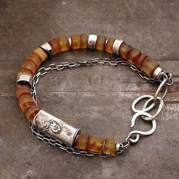 raw bracelet • yellow Baltic amber • chain bracelet sterling silver • 925