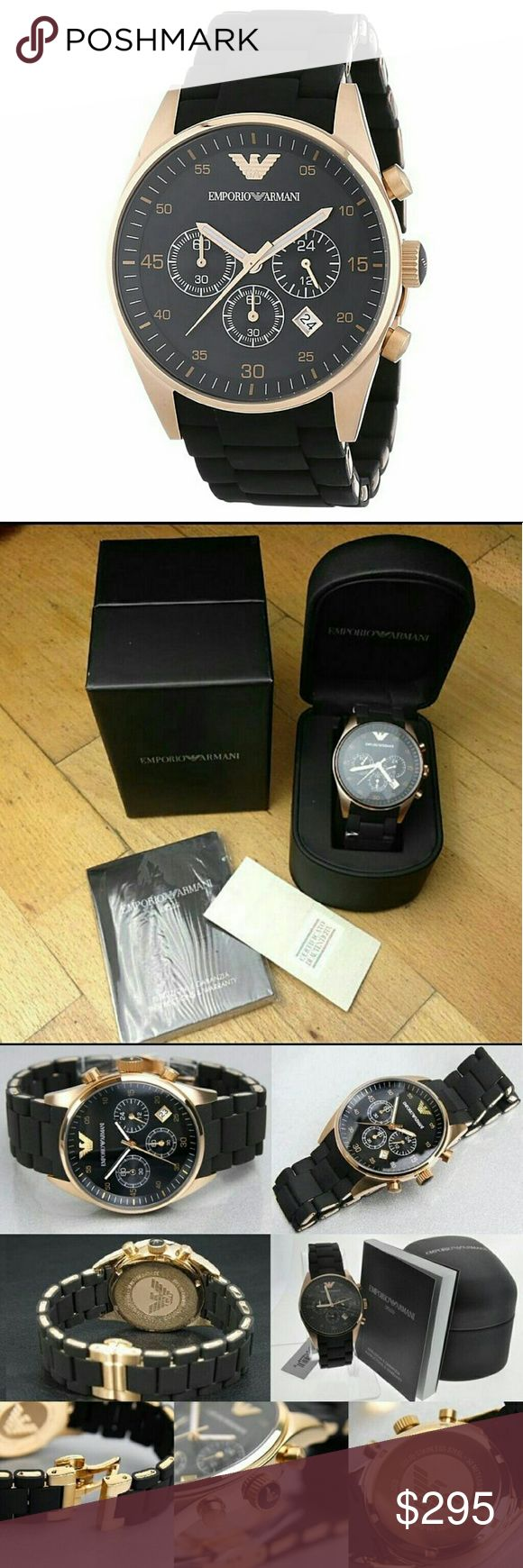 NWT Emporio Armani Chronograph rose/black watch Emporio Armani Chronograph Rose Gold Black Men's Watch  FIRM PRICE FIRM PRICE $295.00 . AUTHENTIC WATCH? . AUTHENTIC BOX? . AUTHENTIC MANUAL?  SHIPPING? PLEASE ALLOW FEW BUSINESS DAYS FOR ME TO SHIPPED IT OFF.I HAVE TO GET IT FROM MY WAREHOUSE?  THANK YOU FOR YOUR UNDERSTANDING? Emporio Armani Accessories Watches