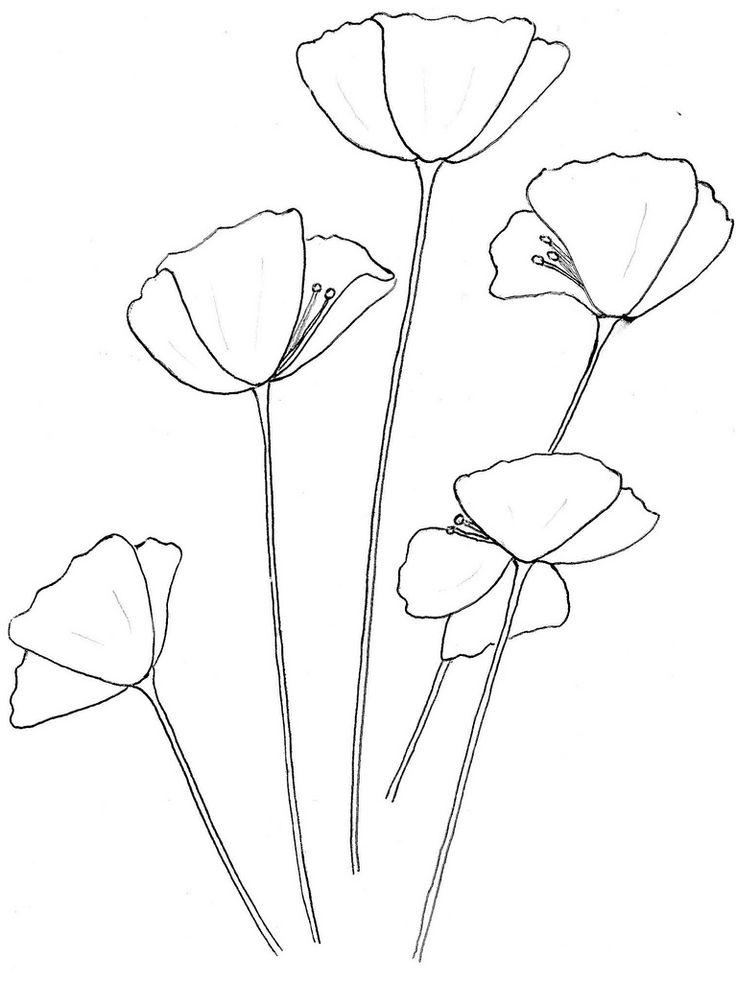 Gallery For Gt California Poppy Outline Inked