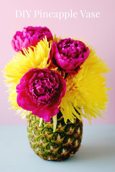 DIY Pineapple Vase || Lover.ly. This is a simple project that would look great at a Tiki Party or Luau.