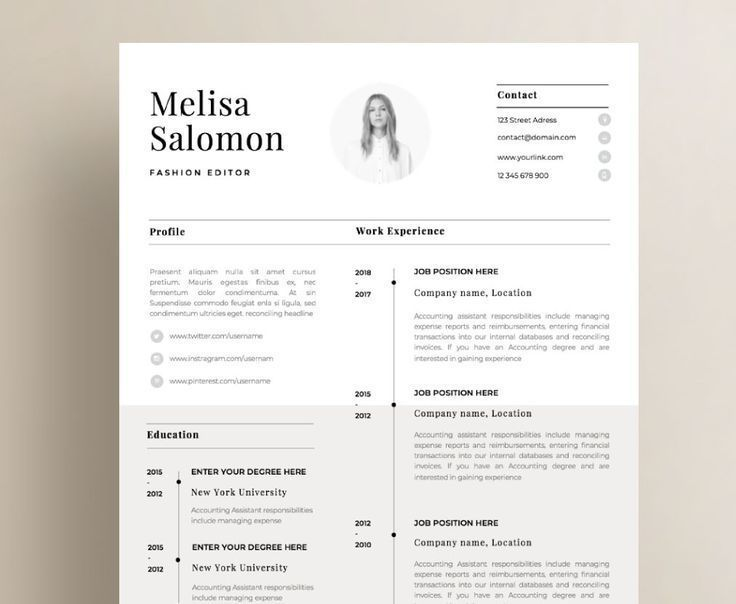 One page resume template with photo for word & pages CV Template ...