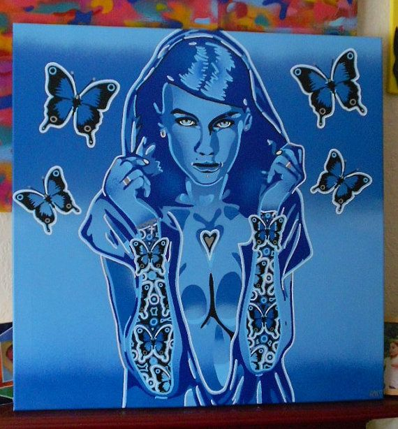 painting of hooded woman with butterfly by AbstractGraffitiShop, $266.00