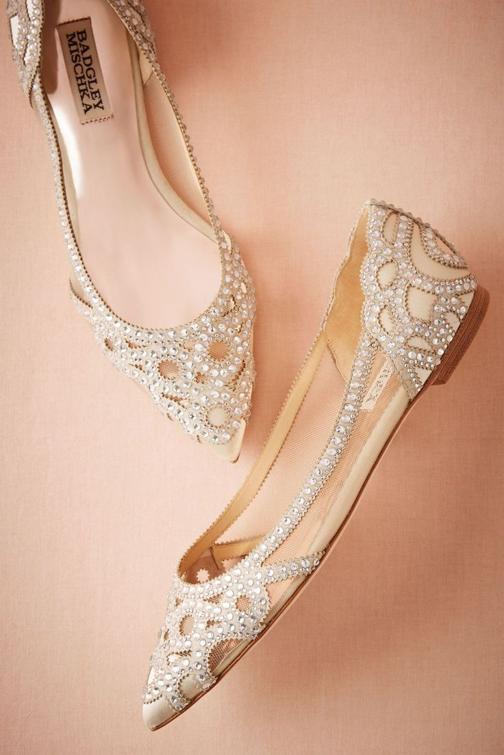Elegant Flat Wedding Shoes With Rhinestones Bridal