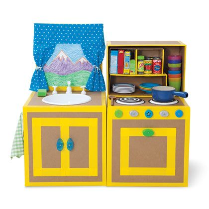 Cardboard Kitchen | Recycled Crafts - Recyclable Crafts for Kids - Recycling Craft Ideas | FamilyFun