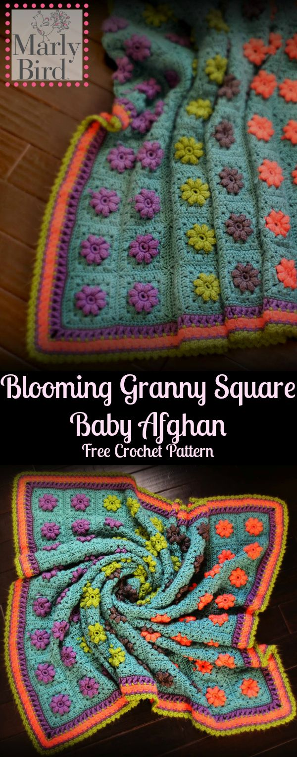 Free Crochet Pattern-DIY Baby Blanket-Blooming Granny Square Baby Afghan. Paid ad-free version available!