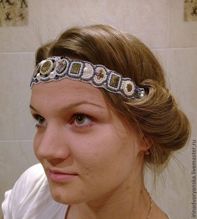 """Купить ободок в греческом стиле""""Арабская принцесса """" - белый, ободок для волос, ободок с бисером"""