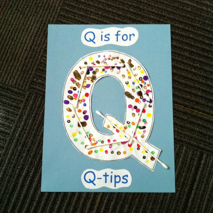 Q is for q-tips.  Students used q-tips to paint letter q template, then glued clean q-tips on top.