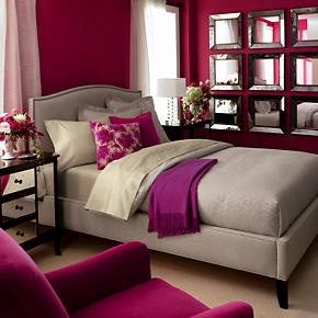 "A beautiful fuschia bedroom from Crate & Barrel featuring a ""Lima Alpaca Fuchsia Throw"".  reviews.crateandbarrel.com  -  Love the mirror collage too!"