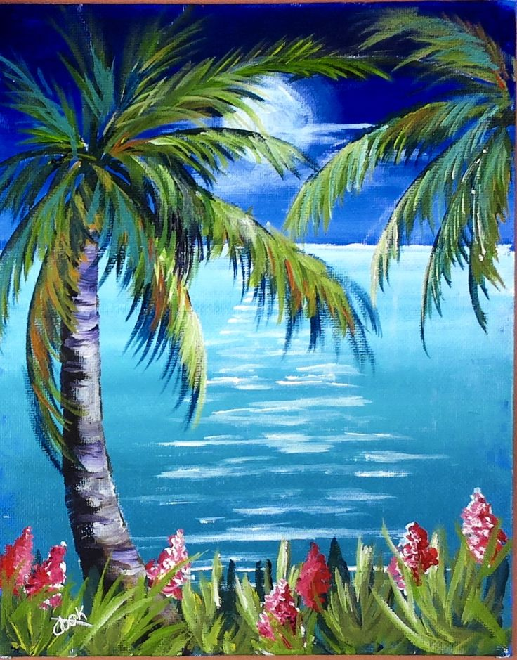 """Paradise Moon was the Monday night featured """"back to basics"""" acrylic lesson. We covered brush strokes on palm trees. the entire painting will be on our website Sept 15."""