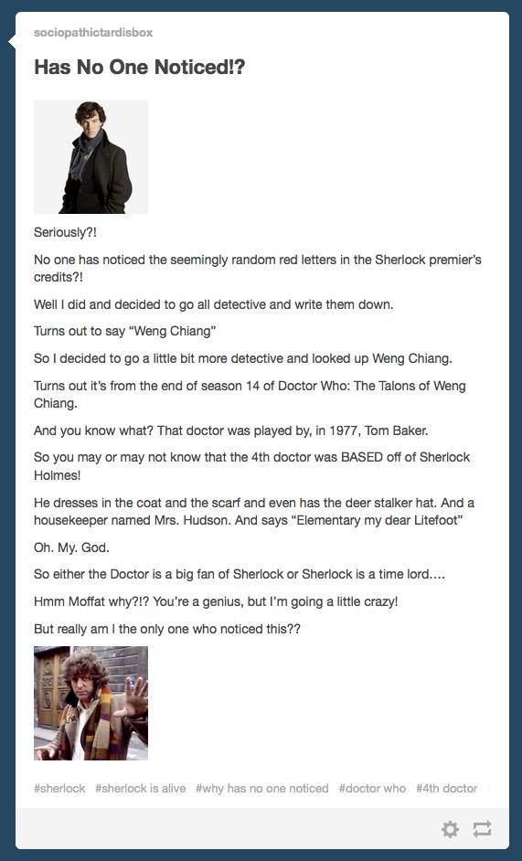 Seriously though I don't understand how people have missed this. GET ON IT!! Sherlock season 3 premier