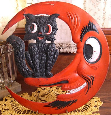 Vintage Halloween Decoration ~ Rare Die-Cut Crescent Moon & Black Cat * Made in Germany * Circa, 1930s