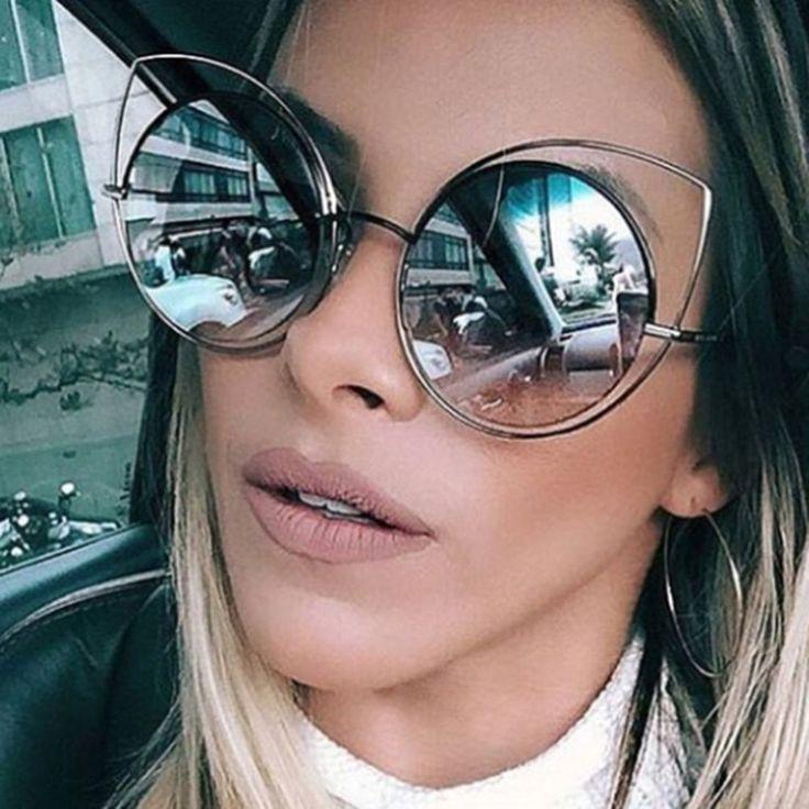Cat Eye Oversized Women Sunglasses Vintage Retro S Eyewear Fashion Metal Frame #CatEyeChina #CatEye