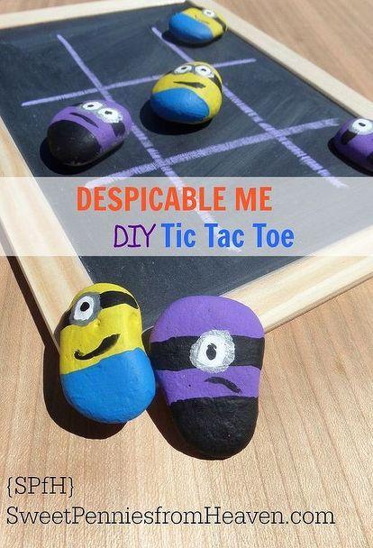diy despicable me minion tic tac toe board game, crafts