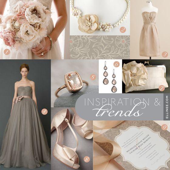 Vintage Blush and Grey Wedding Inspiration Board