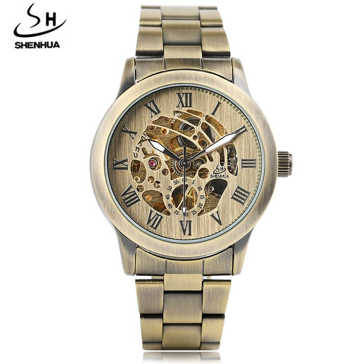 SHENHUA Watch Men Skeleton Automatic Mechanical Watch Brass Style skeleton Vintage Watches Man Wristwatch Mens Watch Top Brand