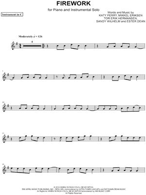 """Katy Perry """"Firework - C Instrument"""" Sheet Music (Flute, Violin, Oboe or Recorder) - Download & Print"""