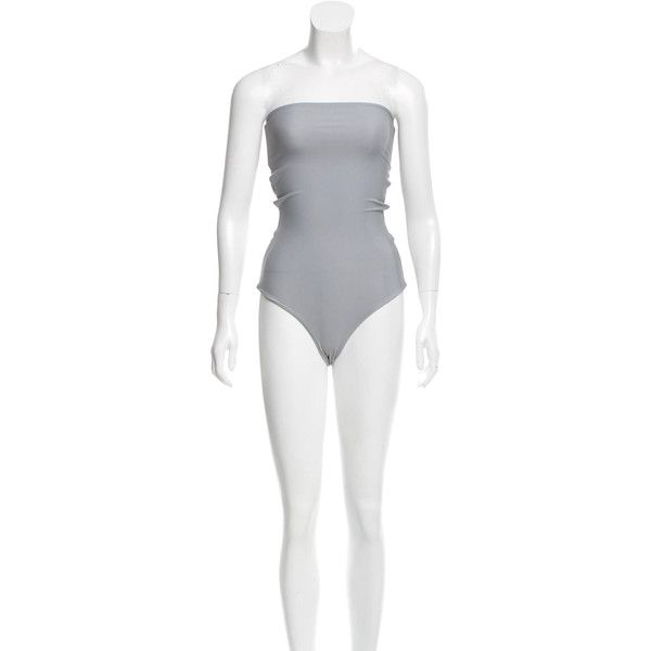 Pre-owned Mikoh Strapless Cutout Swimsuit ($75) ❤ liked on Polyvore featuring swimwear, one-piece swimsuits, grey, cut out swim suit, strapless bathing suits, mikoh swimwear, cut-out one piece swimsuits and strapless swimsuits