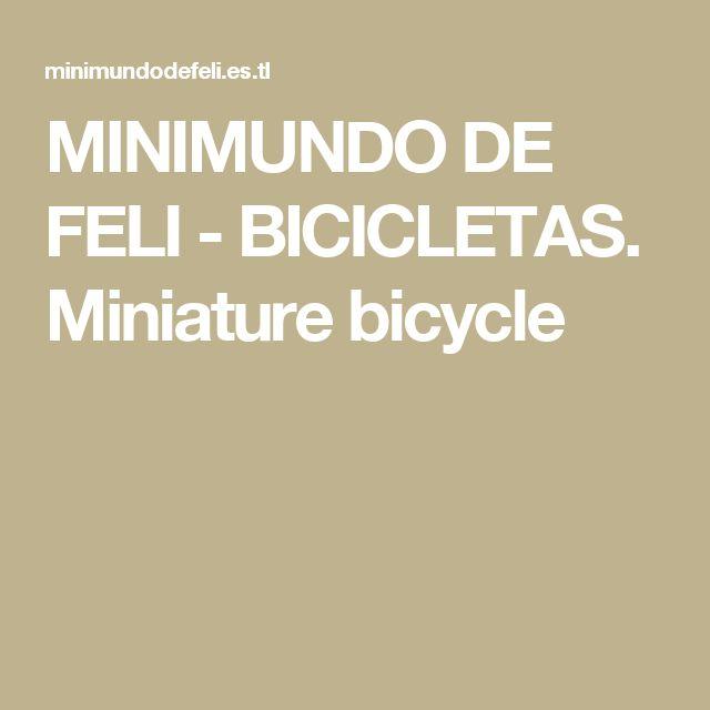 MINIMUNDO DE FELI - BICICLETAS. Miniature bicycle