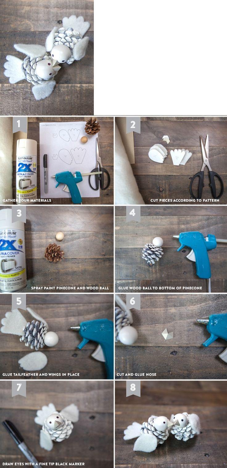 Как из шишек делать фигурки и елочные игрушки - птички - пошаговая инструкция…