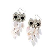 Shell Owl Chandelier Earrings