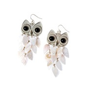 Shell Owl Chandelier Earrings