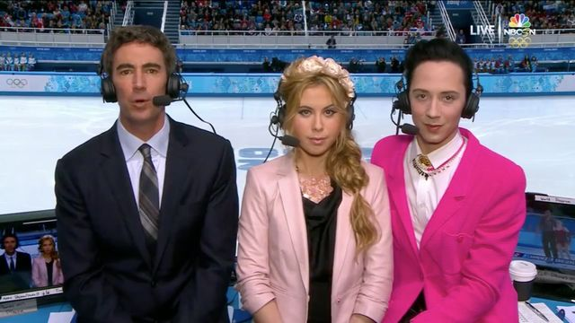Johnny Weir, Tara Lipinski and some guy commentate on figure skating