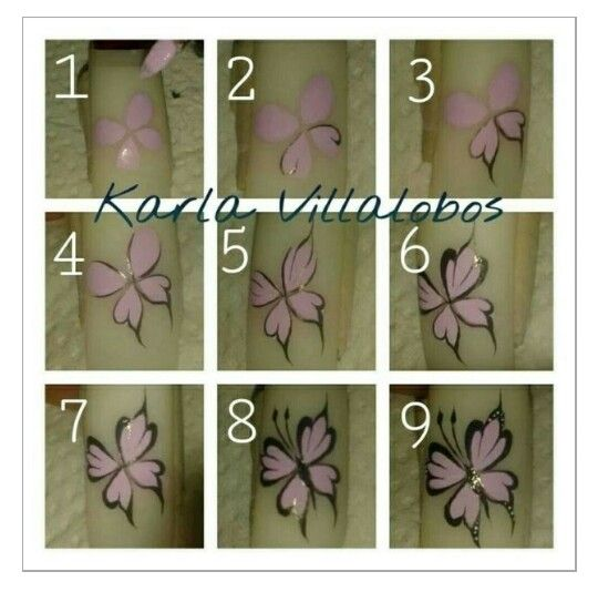 Butterfly Step By Nail ArtFlower