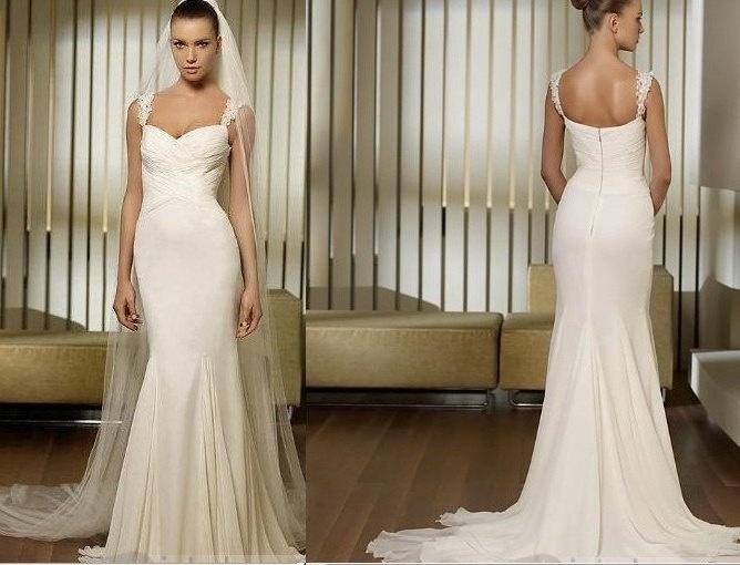 Vintage Chiffon Wedding Dress Bridal Gown A LINE