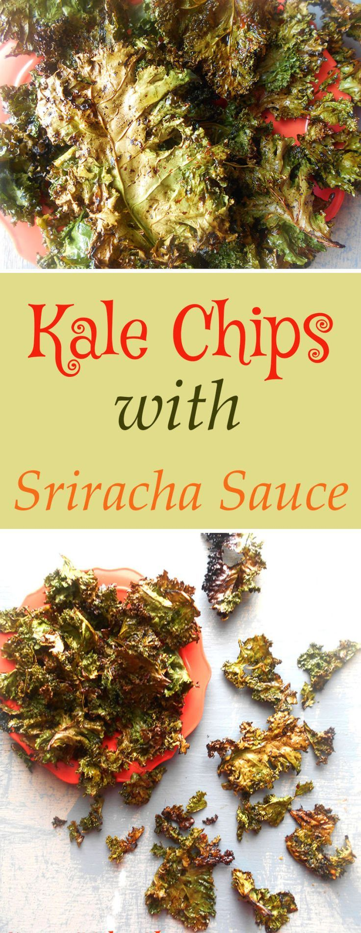 Spicy Kale Chips recipe made with Sriracha sauce. Quick snack idea that is also a healthy snack. Instead of snacking on potato chips, try this healthy chips