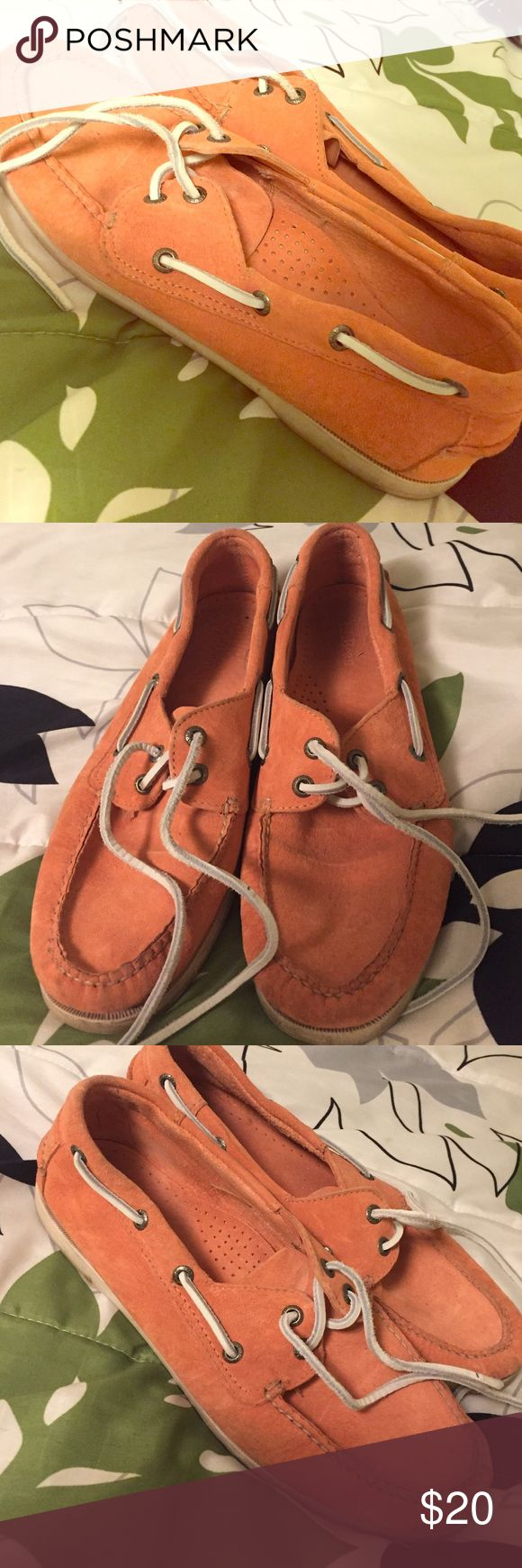Orange LL Bean boat shoes 9/10 condition. Worn twice! L.L. Bean Shoes Flats & Loafers