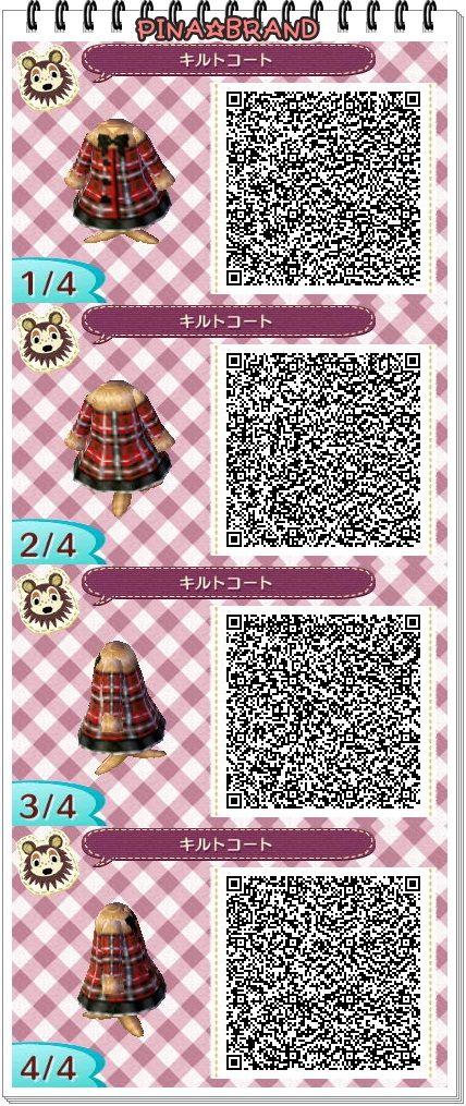 winter coat • cute • black • red • plaid // Animal Crossing: New Leaf QR codes