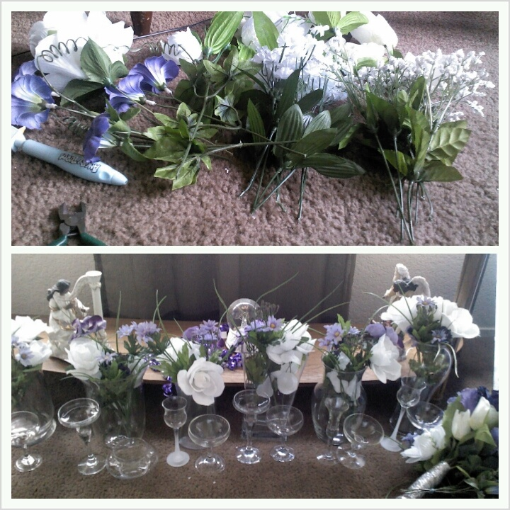 The six centerpieces creayrd from a few buches of artificial flowers from micheals crafts store