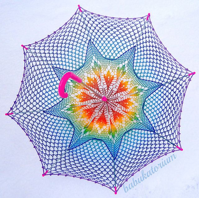 Crochet Umbrella - Rainbow Ombre Leaves Doily Motif With Star Crochet Embroidery by babukatorium, via Flickr