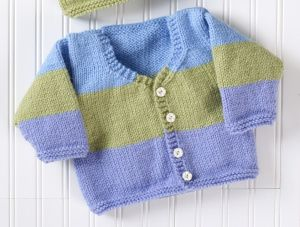 Little Boy's  Cardigan - easy knit - up to 3 yrs