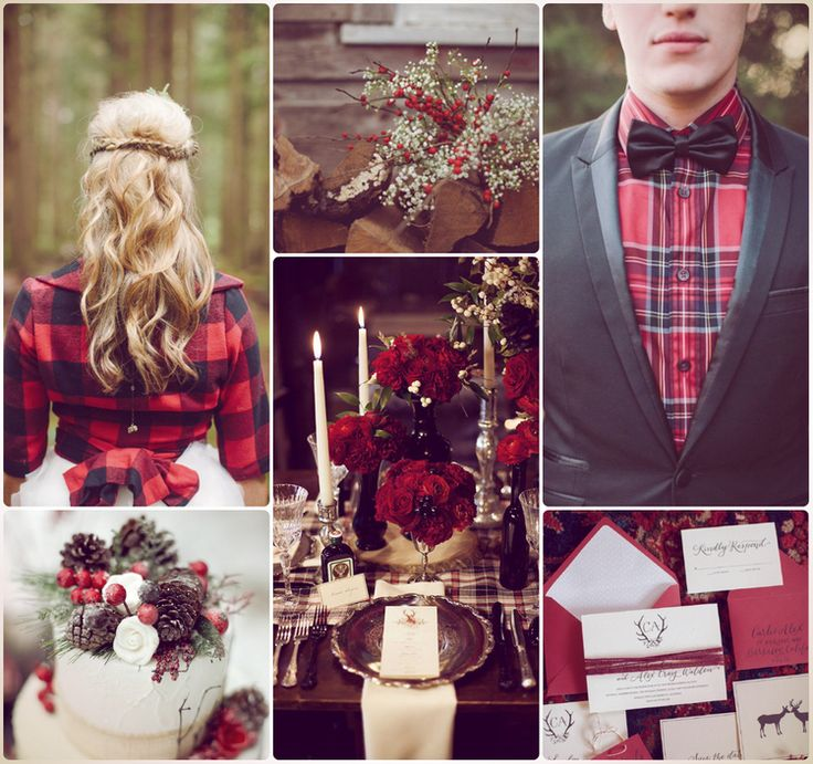 A Scottish Christmas Wedding inject a touch of highland spirit into your winter wedding with traditional Scottish elements.  The colour palette of red, black, grey and white,  using tartan, pine cones and berries. Bold grooms may opt for the eye-catching kilt, but the less daring can get inspired from the tartan shirt, and a cosy tartan jacket will make a wonderful cover-up to keep the bride warm on a cold winter's day.  Photo: frockaroundtheclock.com